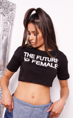 Black 'Female' Slogan Cropped T Shirt - Missfiga.com