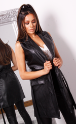 Roni Black PU Belted Sleeveless Duster Jacket