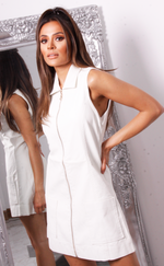 Marley White Faux Leather Sleeveless Shirt Dress