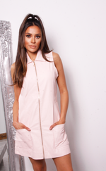 Marley Pink Faux Leather Sleeveless Shirt Dress - Missfiga.com