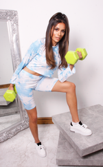 Angie Blue Tie Dye Crop Top & Cycling Shorts Co-Ord Set - Missfiga.com