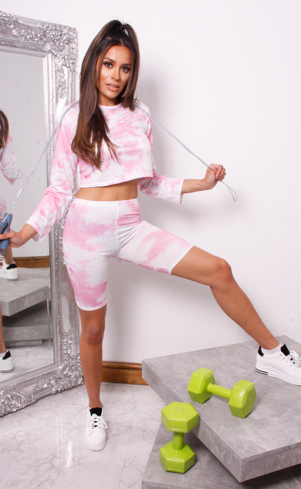 Angie Pink Tie Dye Crop Top & Cycling Shorts Co-Ord Set - Missfiga.com