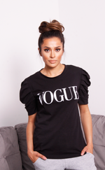 Black Vogue Puff Sleeve T Shirt - Missfiga.com