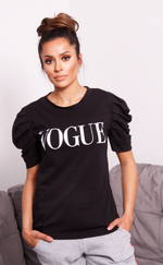 Black Vogue Puff Sleeve T Shirt