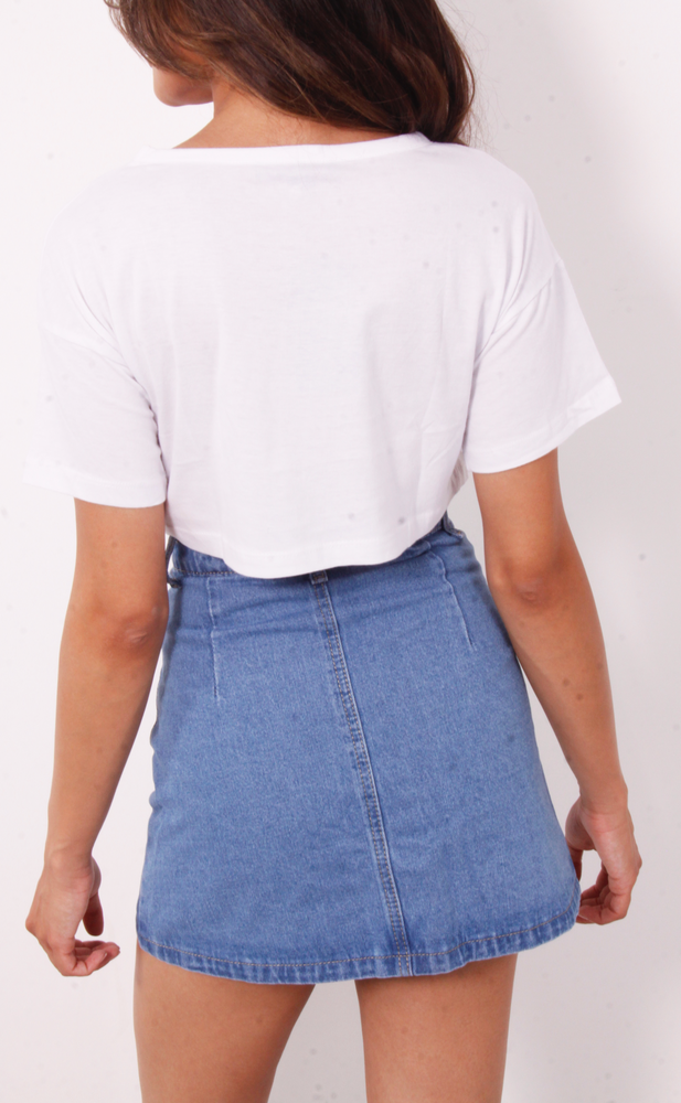 Blue Button Through A-Line Denim Skirt - Missfiga.com