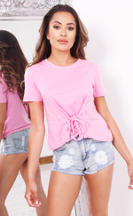 Pink Lace Up Detail T-Shirt - Missfiga.com