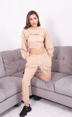Beige 'Love me Harder' 3pc Tracksuit - Missfiga.com