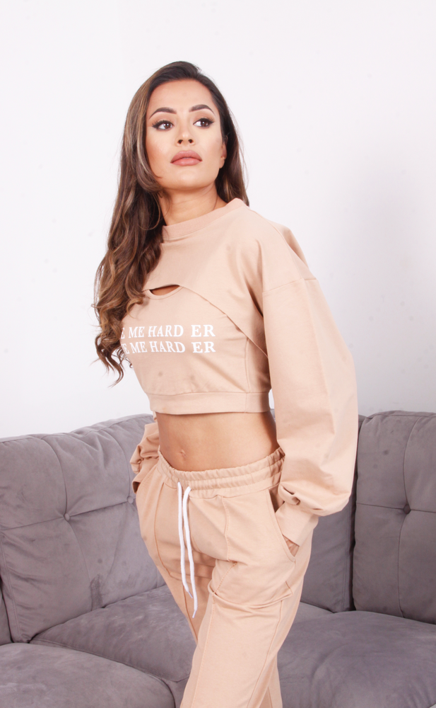 Beige 'Love me Harder' 3pc Tracksuit