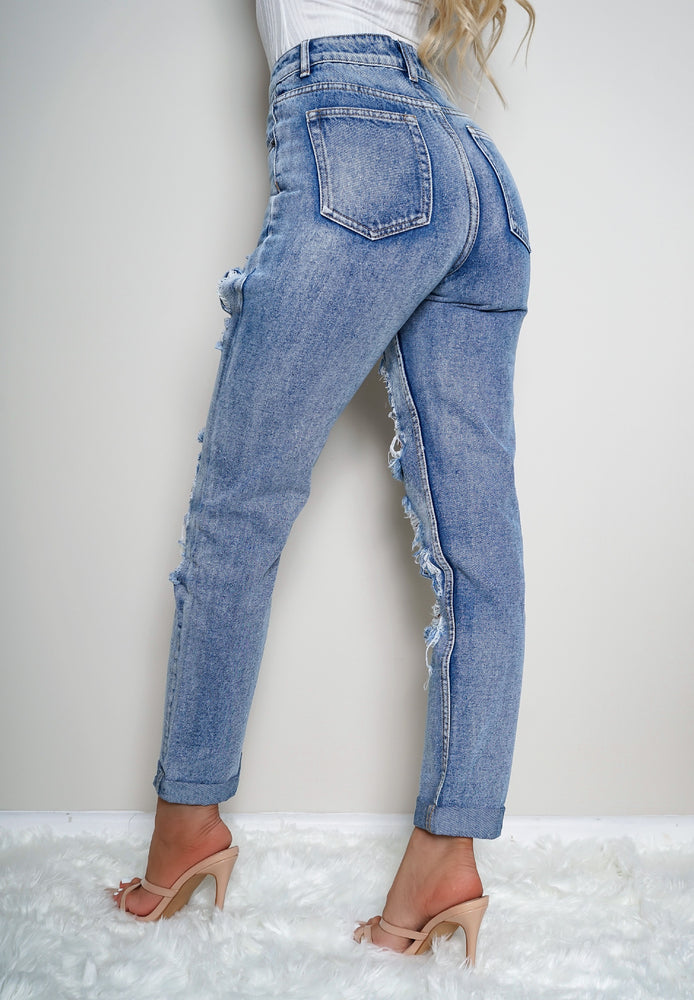 Maisie Light Blue Extreme Ripped Mom Jeans