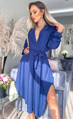 Maxine Navy Asymmetric Belted Dress