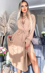Maxine Caramel Asymmetric Belted Dress