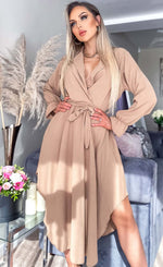 Maxine Caramel Asymmetric Belted Dress - Missfiga.com