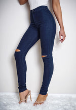 Marie Dark Blue Knee Ripped Detail Skinny Jeans