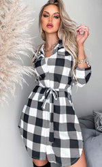Menga Ivory Belted Checked Crepe Shirt Dress