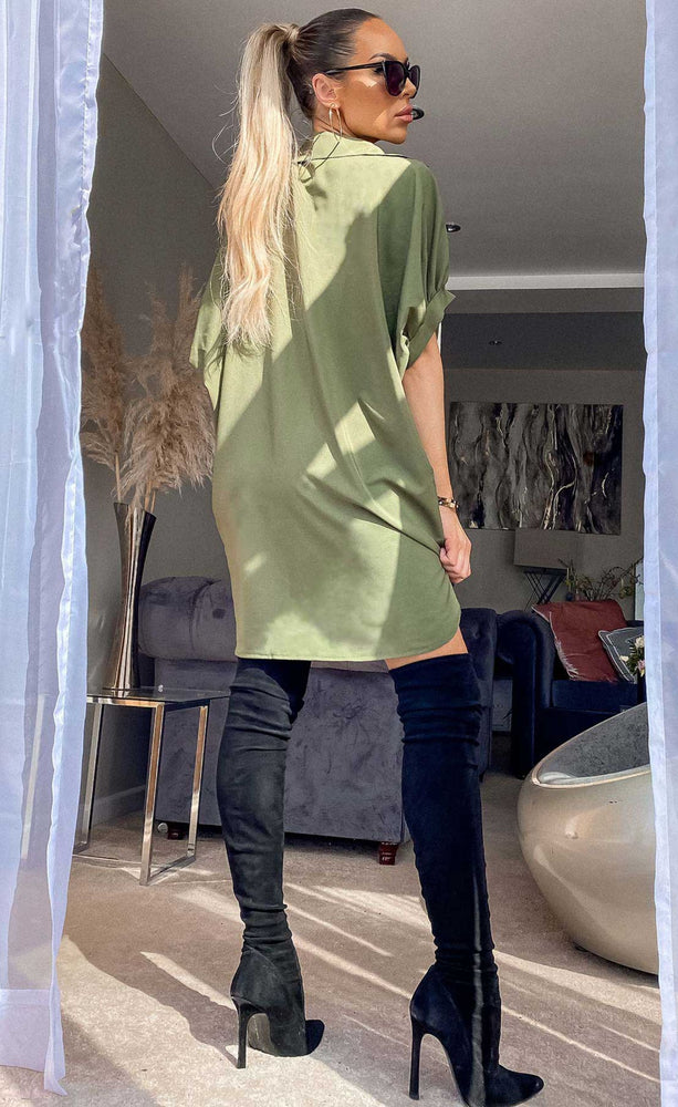 Miami Khaki Love Oversized Shirt Dress - Missfiga.com