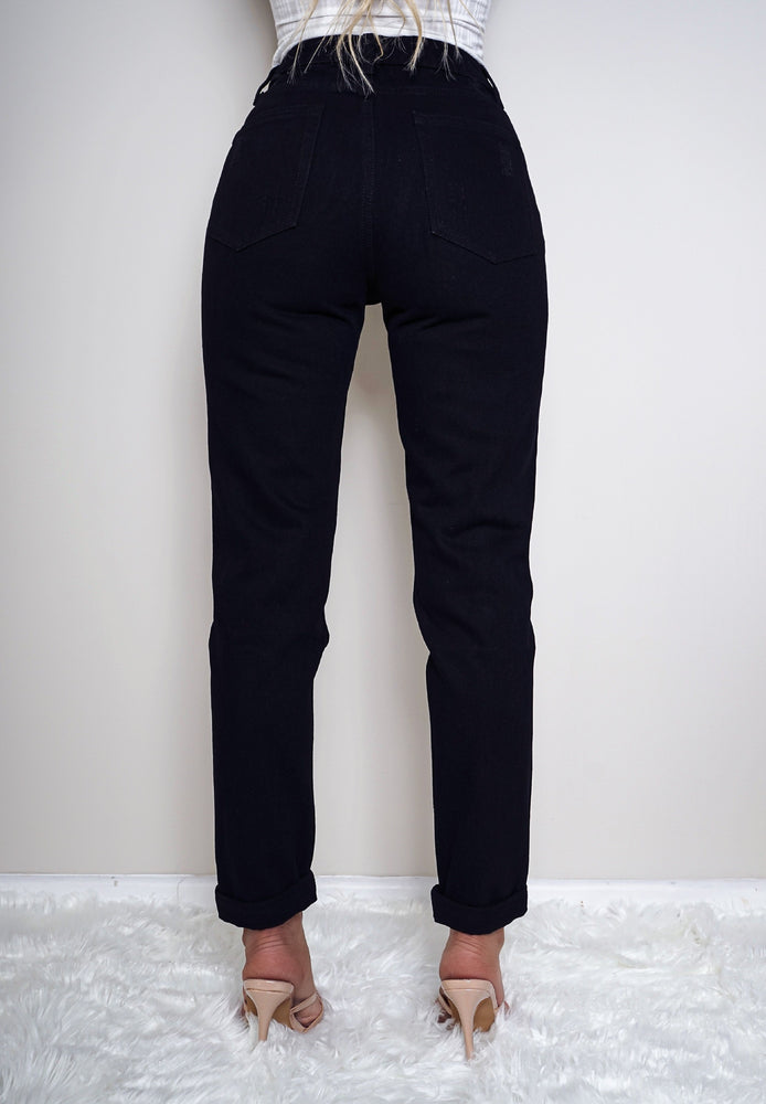 Shiloh Black Knee Ripped Mom Jeans - Missfiga.com