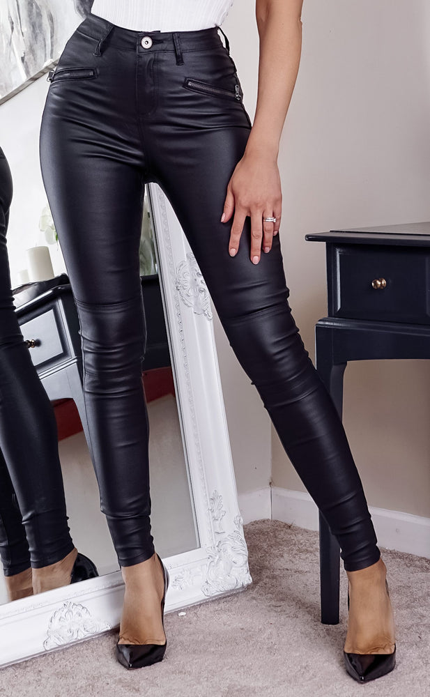 Biker Black Double Zip High Waist Skinny Jeans
