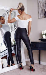Biker Black Double Zip High Waist Skinny Jeans - Missfiga.com