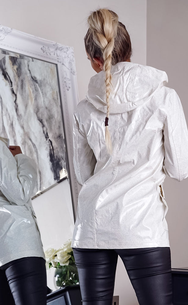 Lois White Glitter Zip Up Rain Mac Jacket - Missfiga.com
