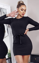 Edison Black Ribbed Long Sleeve Tie Waist Knitted Dress