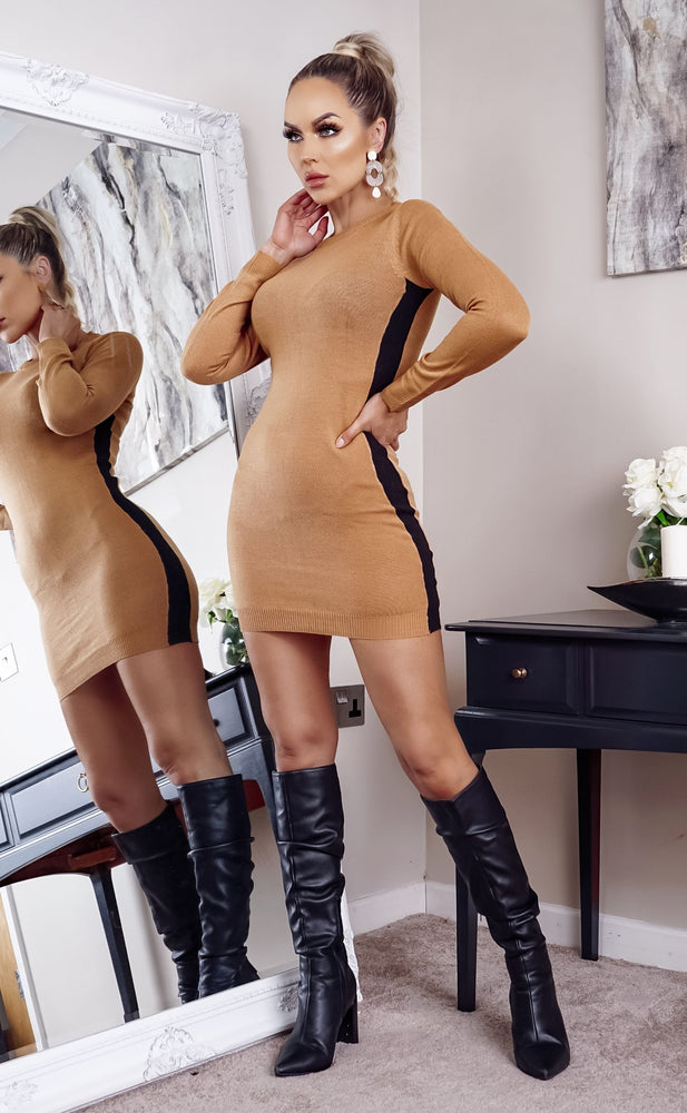 Nevada Camel Side Stripe Ribbed Long Sleeve knitted Dress