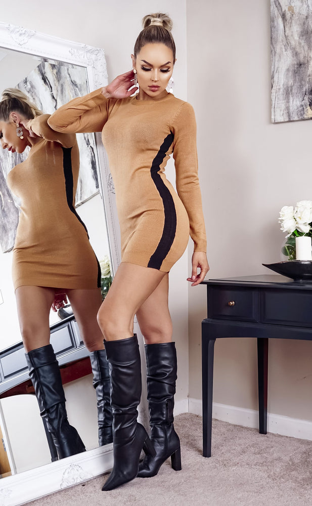 Nevada Camel Side Stripe Ribbed Long Sleeve knitted Dress - Missfiga.com