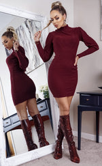 Azera Burgundy Turtle Neck Ribbed Long Sleeve knitted Dress