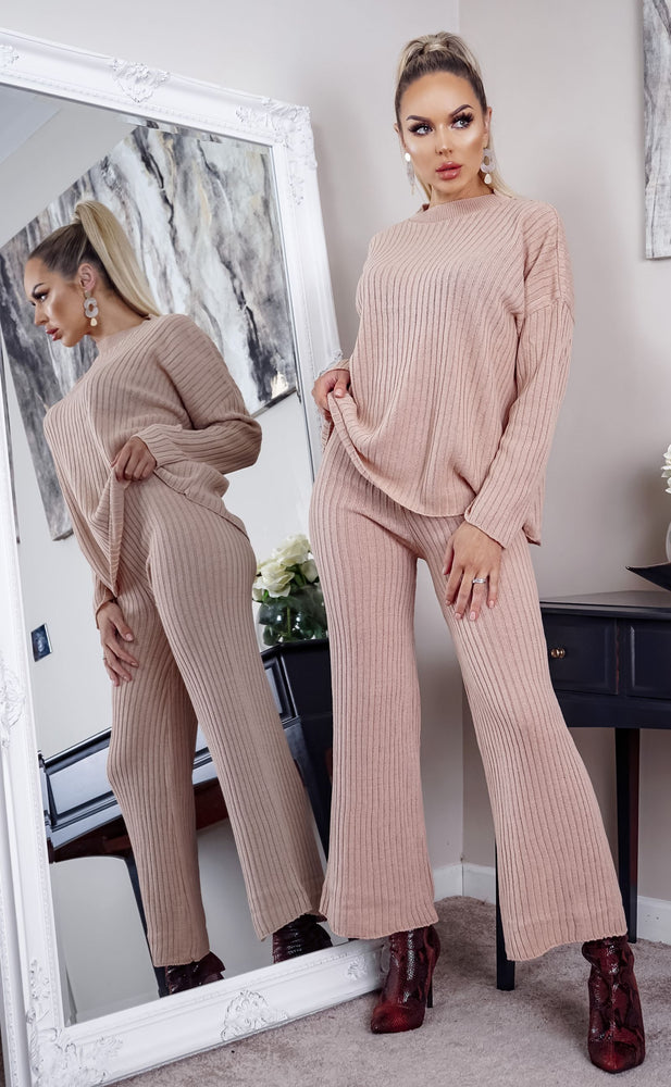 Take Knit Nude Sweater and Pants Lounge Set - Missfiga.com