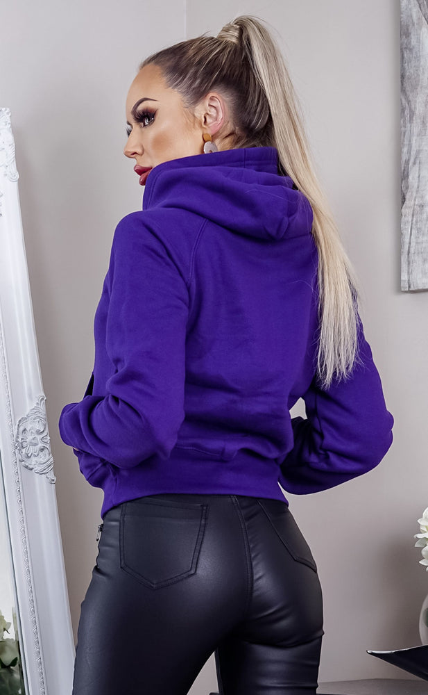 Purple Oversized Fleece Basic Hoodie