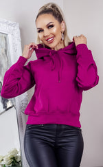 Pink Oversized Fleece Basic Hoodie