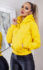 Yellow Oversized Fleece Basic Hoodie