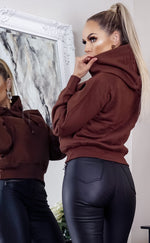 Brown Oversized Fleece Basic Hoodie - Missfiga.com