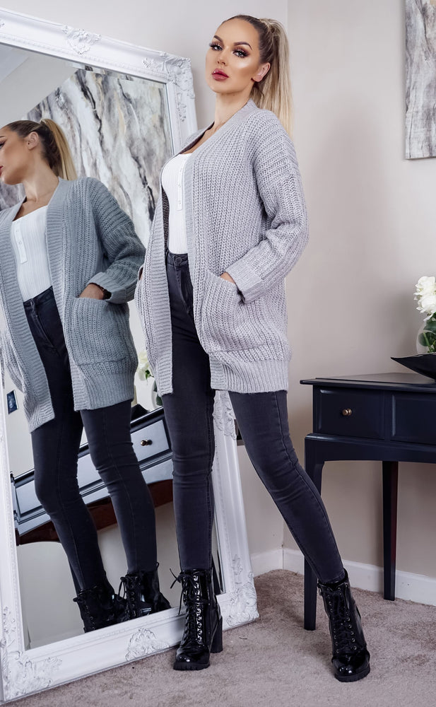 Chloe Grey Knit Pocket Cardigan - Missfiga.com