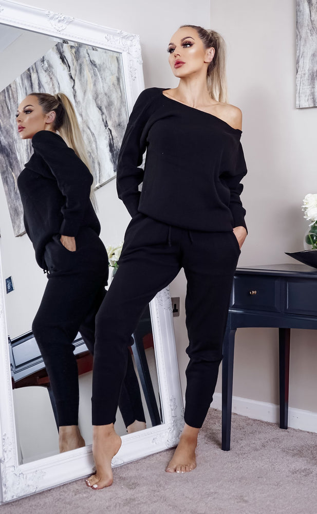 Ariel Black Off The Shoulder Knitted Loungwear