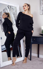Ariel Black Off The Shoulder Knitted Loungwear - Missfiga.com