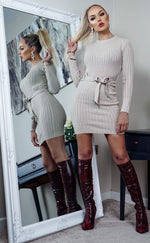 Edison Beige Ribbed Long Sleeve Tie Waist knitted Dress