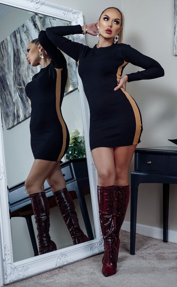 Nevada Black Side Stripe Ribbed Long Sleeve Knitted Dress - Missfiga.com