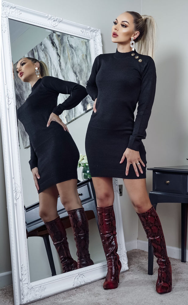 Rula Black Button Detail Knit Long Sleeve Mini Dress