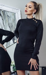 Rula Black Button Detail Knit Long Sleeve Mini Dress - Missfiga.com