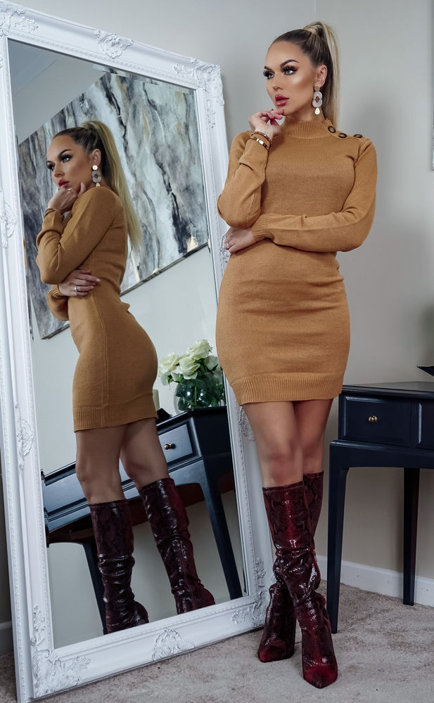 Rula Camel Button Detail Knit Long Sleeve Mini Dress