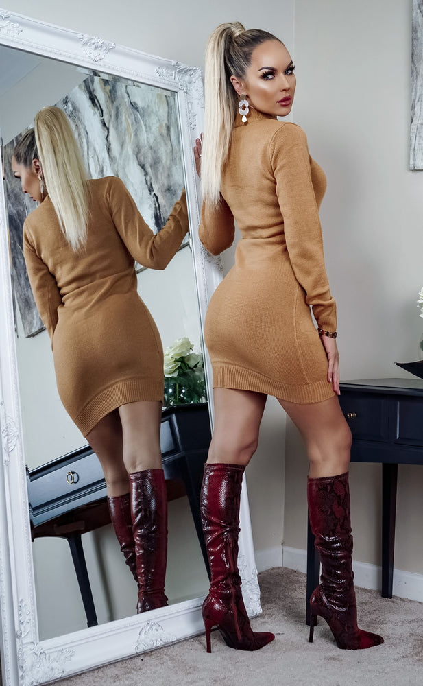 Rula Camel Button Detail Knit Long Sleeve Mini Dress - Missfiga.com