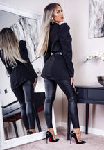 Ronda Black Belted Padded Shoulder Pocket Blazer - Missfiga.com