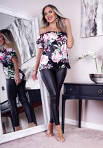 Frensie Black Satin Floral Bardot Top