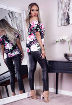 Frensie Black Satin Floral Bardot Top - Missfiga.com