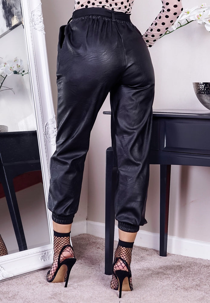 Black Faux Leather Belted Pocket Detail Cargo Pants - Missfiga.com
