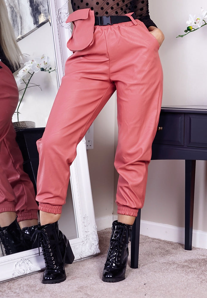 Blush Faux Leather Belted Pocket Detail Cargo Pants - Missfiga.com