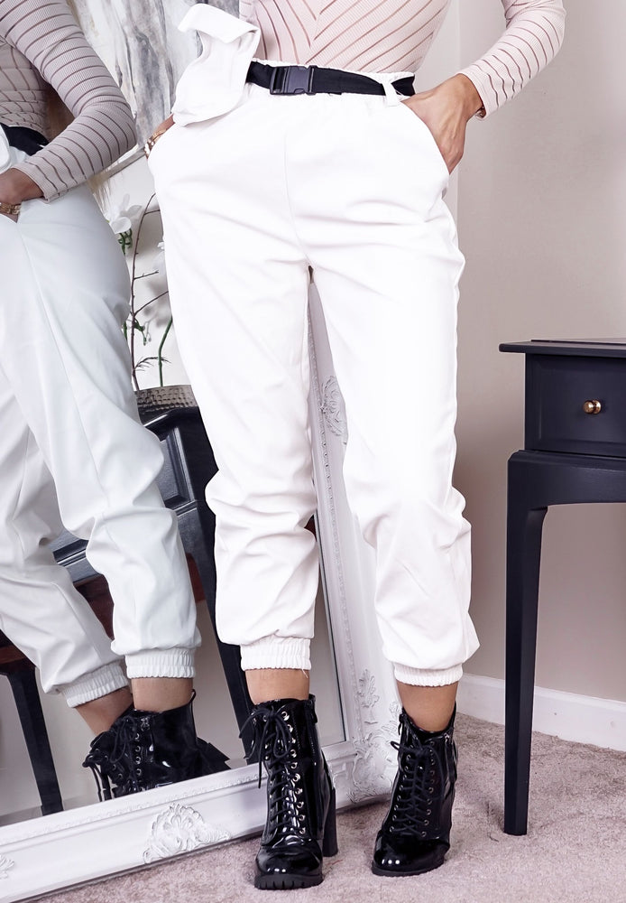 White Faux Leather Belted Pocket Detail Cargo Pants - Missfiga.com