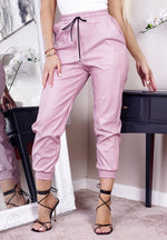 Taliyah Blush Faux Leather Drawstring Cargo Pants - Missfiga.com
