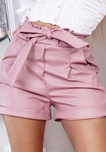 Ezra Pink Faux Leather Belted Paperbag Shorts - Missfiga.com