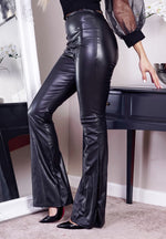 Black High Waisted PU Flared Bottom Legging - Missfiga.com